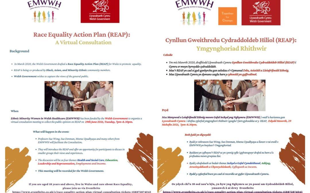 Race Equality Action Plan (REAP): A Virtual Consultation|Cynllun Gweithredu Cydraddoldeb Hiliol (REAP): Ymgynghoriad Rhithwir